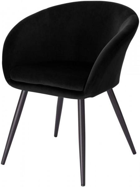 Esszimmerstuhl aus Samt & Metall Modell Kerstin, schwarz