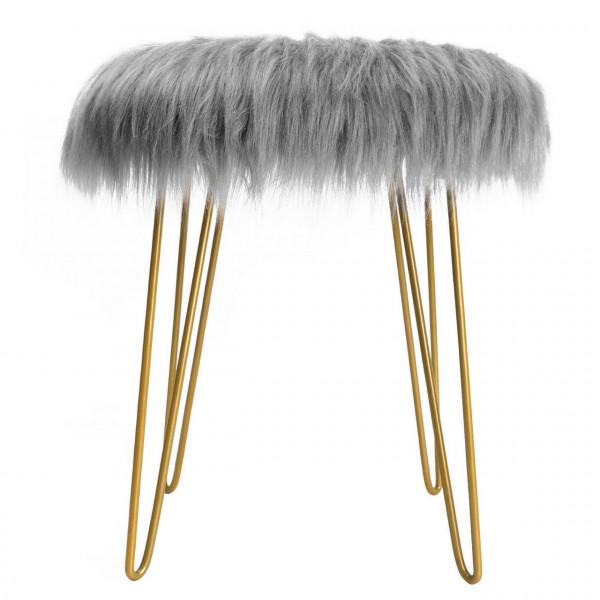 Sitzhocker aus Kunstfell mit Metallbeine, grau