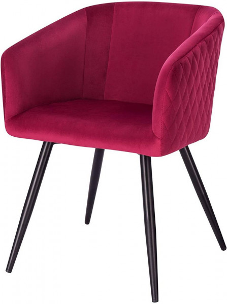 Kitchen chair with velvet and metal armrests - Annika model