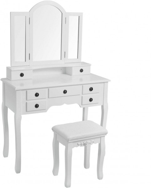 Dressing table with stool, 3 mirrors & 7 drawers