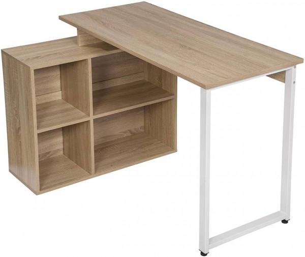 Schreibtisch mit Ablagen aus Holz - Modell Jessy, Eiche hell