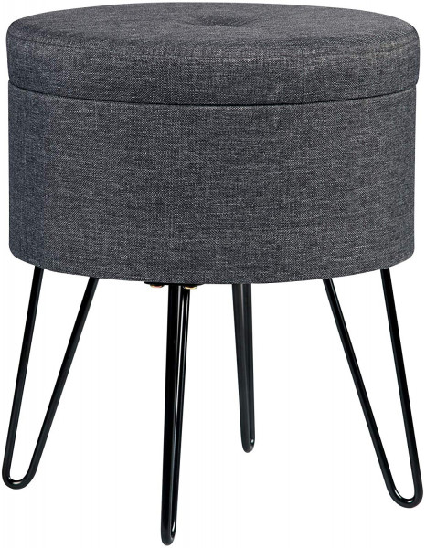 Sitzhocker aus Leinen mit Stauraum, rund