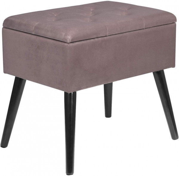 Velvet sitting stool with storage space, rectangle