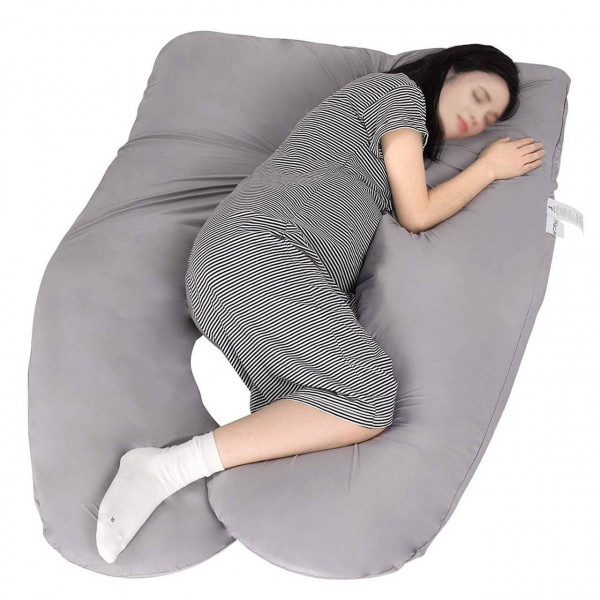Side sleeper pillow with viscose fiber cover, hollow fiber filling, U-shape