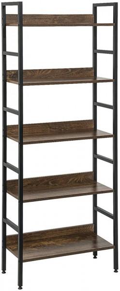 Hochregal Bücherregal Metallregal mit 5 Ablagen, schwarz-vintage