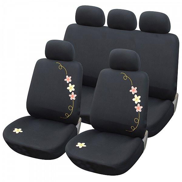 Auto Sitzbezüge Blumen Schwarz