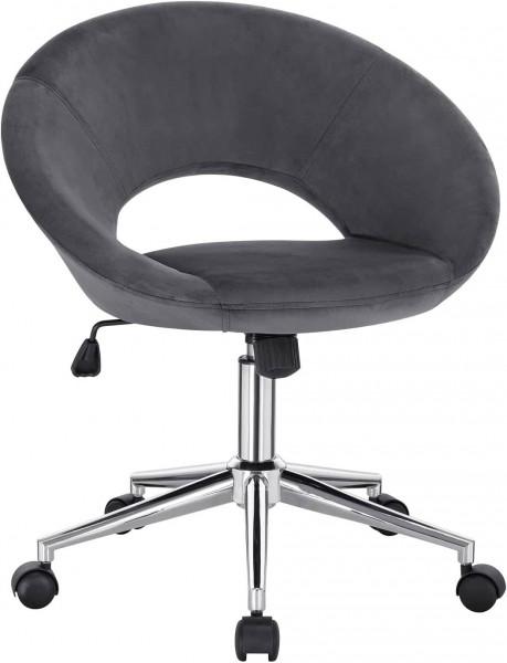 Bürohocker Schreibtischstuhl Ergonomisch Rückenlehne Samt,dunkelgrau
