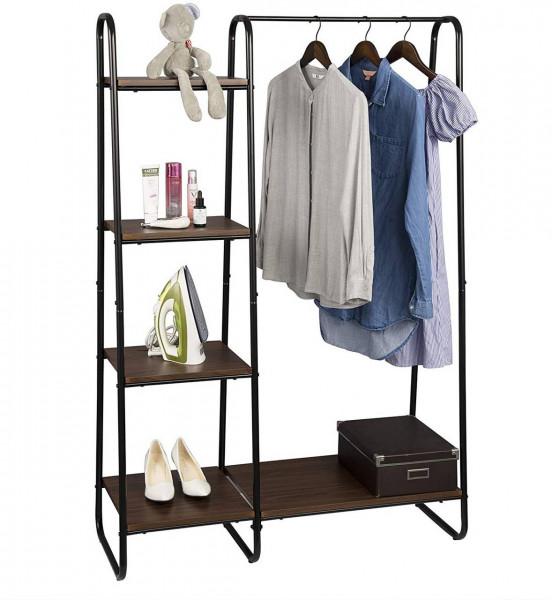 Kleiderständer mit Regal aus Metall und Holz, Dunkelbraun-schwarz