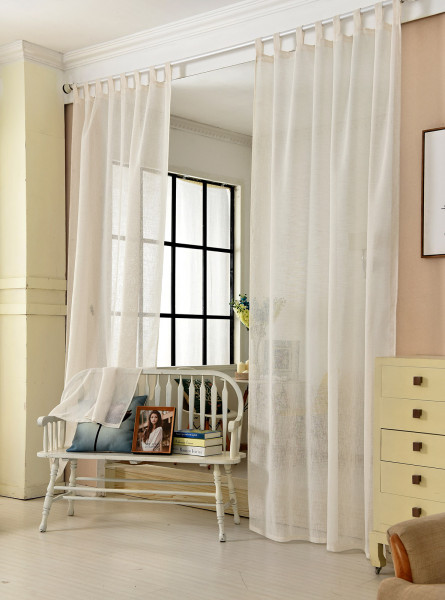 Curtains with loops in country style, transparent