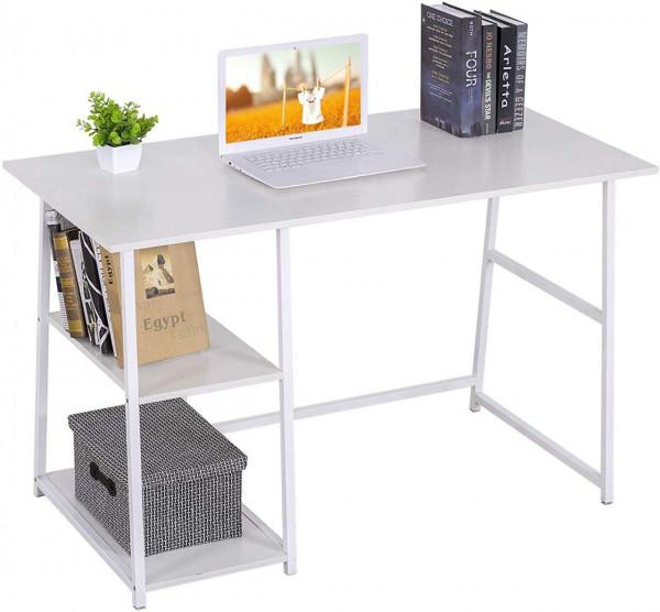 Moderner Schreibtisch mit zwei Ablagen, weiß