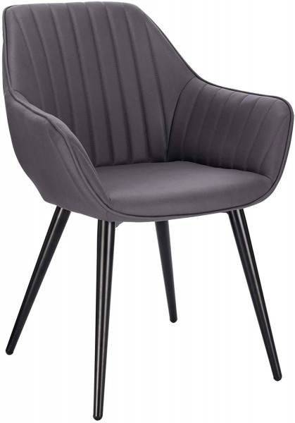 Dining chair with armrests made of fabric and metal legs - model Kerstin