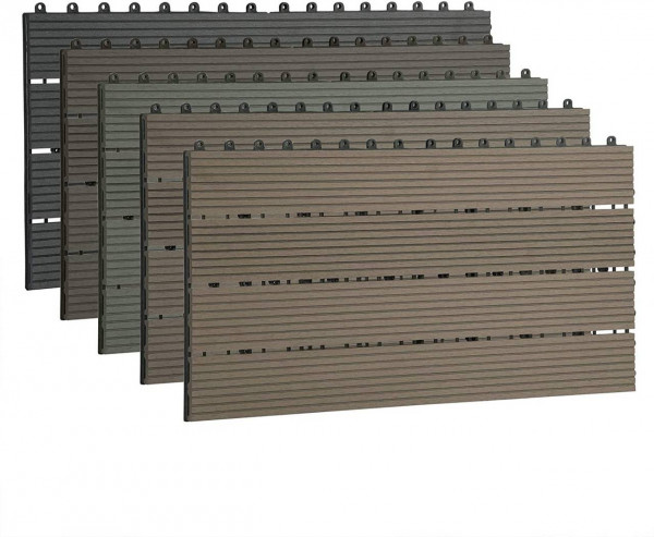 12er-Set WPC Terrassenfliese mit klicksystem,Braun