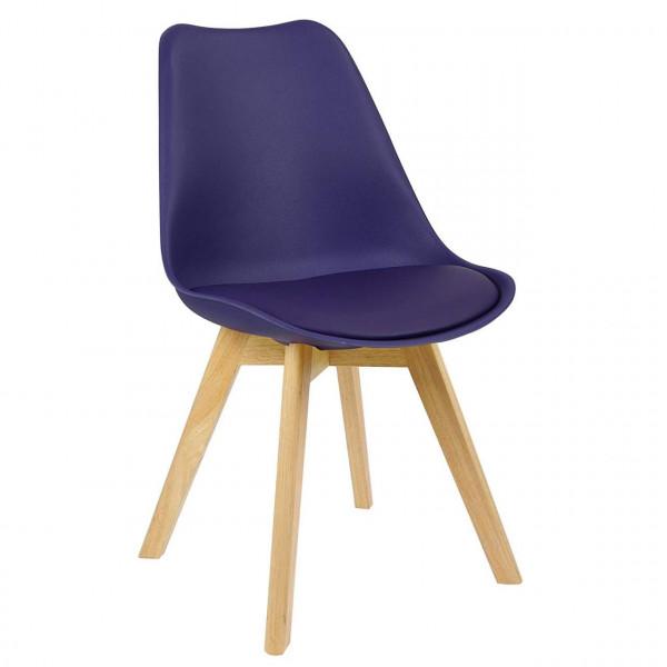 Esszimmerstühle 2er-Set Leinenbezug Holzbeine Lisa lila