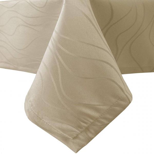 Tischdecke Damast Streifen, Wellen Design mit Saum, Cappuccino