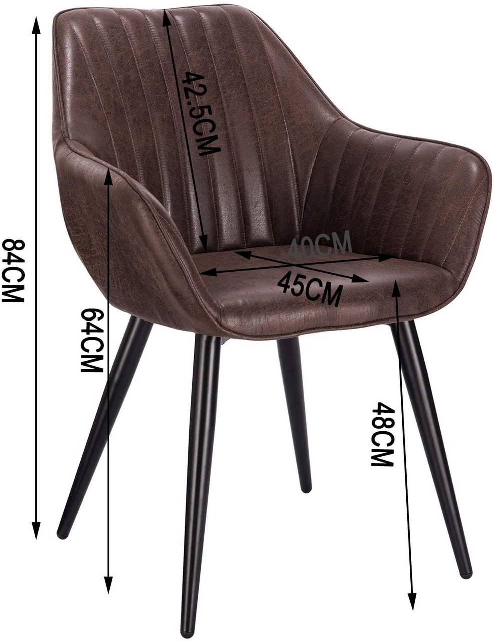 Dining Chair With Armrests Made Of Synthetic Leather And Metal Legs Model Kerstin Woltu Eu