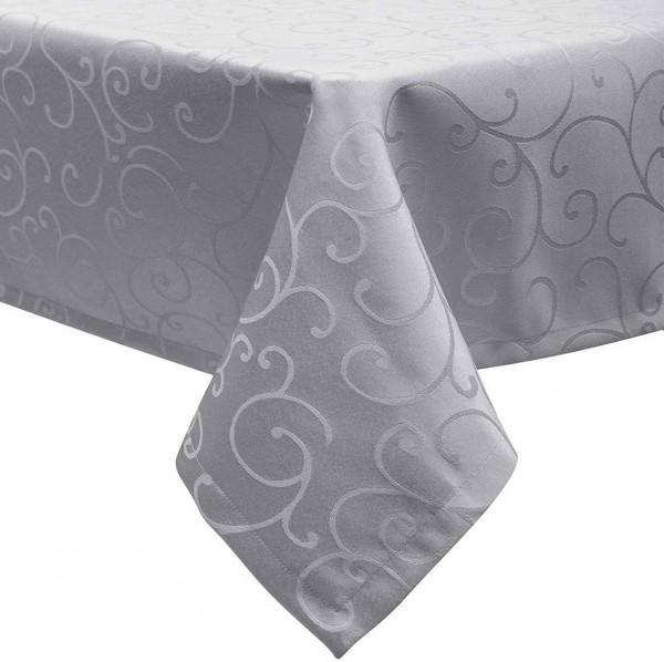 Tablecloth Wipe Clean Damask Tablecloth Water Resistant Fabric Dark Brown