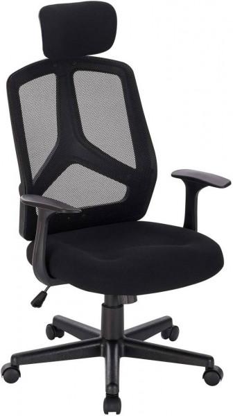 Bürostuhl mit Netz Design, verstellbare Kopfstütze Schwarz
