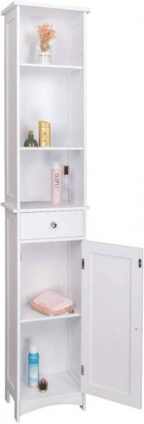 Badschrank Hochschrank aus Holz 33x23x165cm weiß