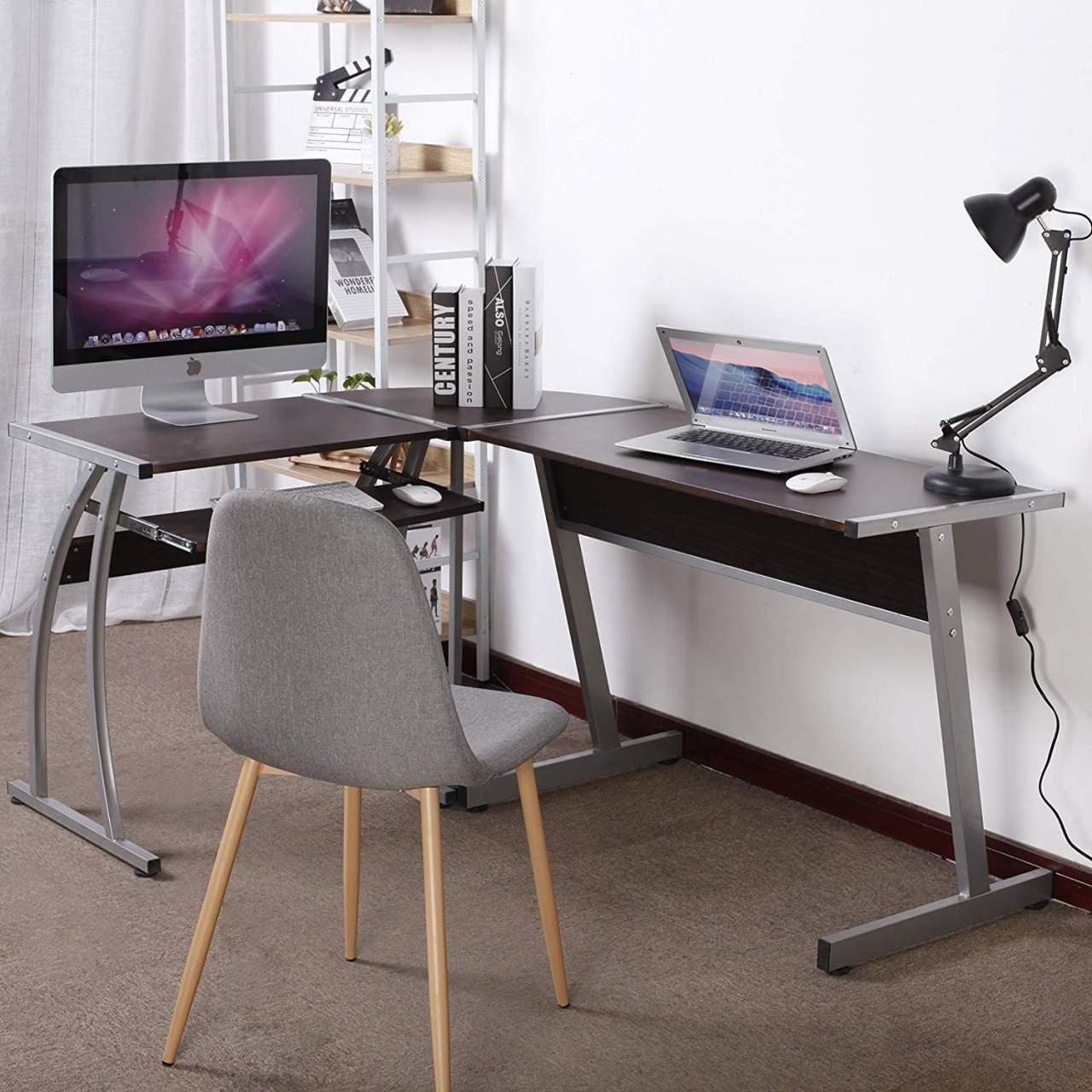 - Wooden L-shaped Corner Desk Woltu.eu