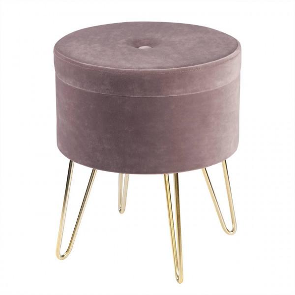 Sitzhocker Polsterhocker aus Samt rund, goldene Metallbeine, rosa