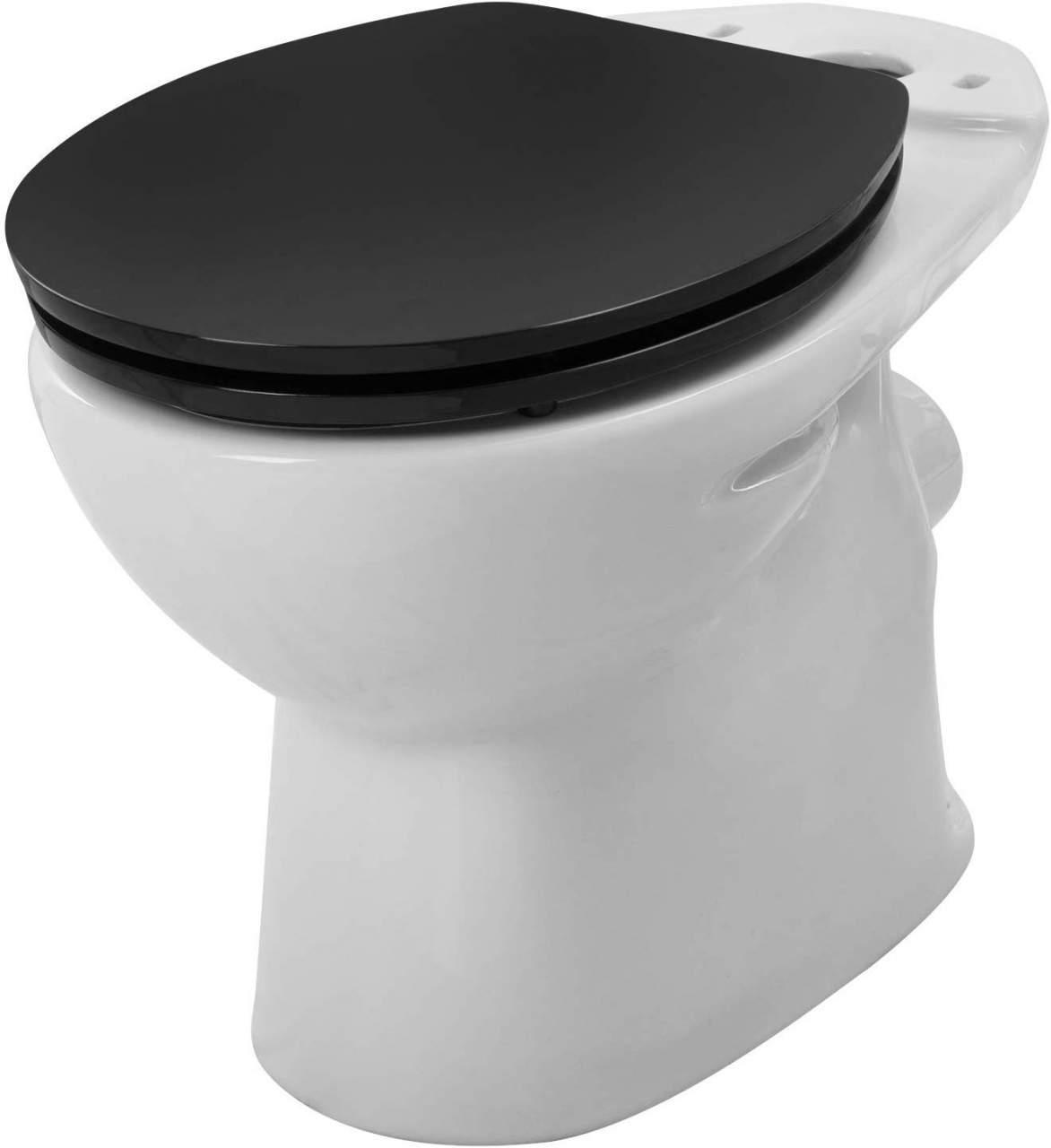 WC-Sitz aus MDF, mit Absenkautomatik, Schwarz   Woltu.eu