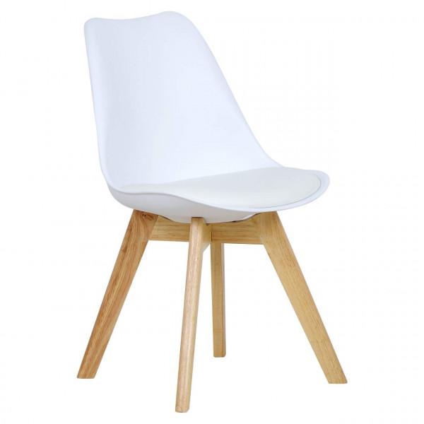 Esszimmerstühle 2er-Set Leinenbezug Holzbeine Lisa weiß