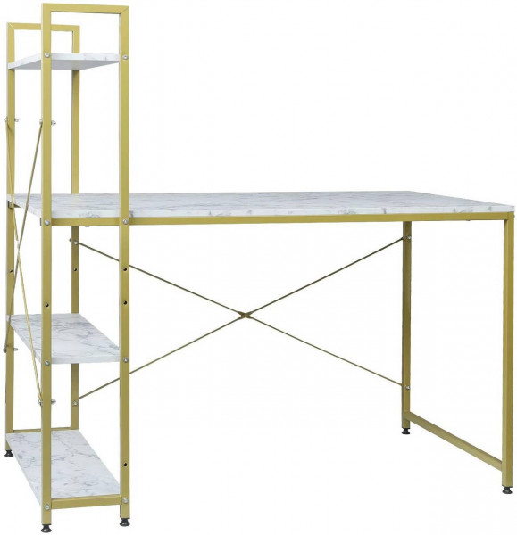 Moderner Schreibtisch mit integriertem Bücherregal, Gold-Weißer Marmor