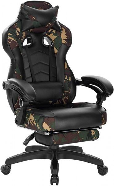 Gamingstuhl mit Kopfstütze, Lendenkissen & Fußstütze Kunstleder camouflage