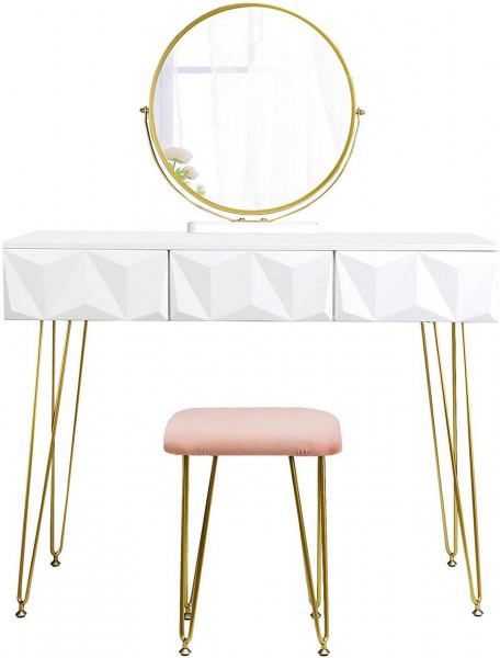 Dressing table with stool & swivel mirror modern round gold