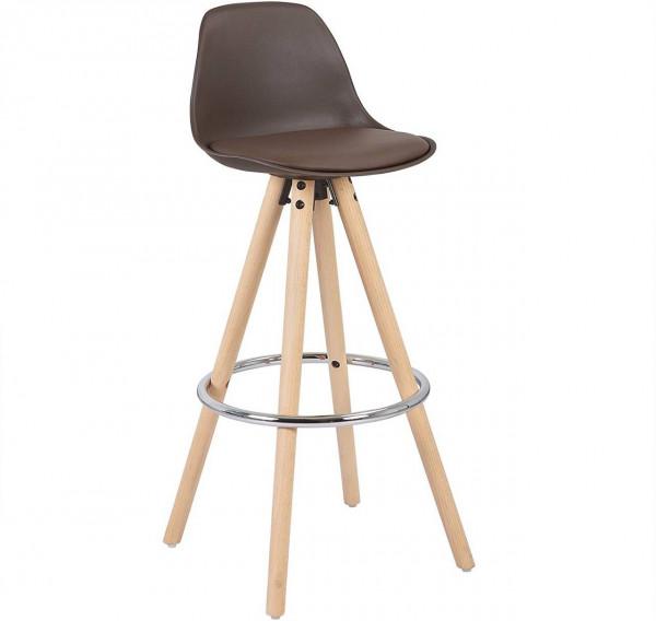 Barstuhl aus Kunststoff Holzgestell mit Lehne Joyce, braun