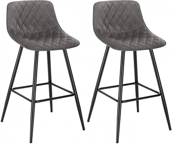Set of 2 designer bar stools with velvet footrest - model Elif