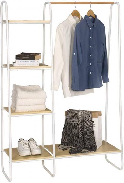 Kleiderständer mit Regal aus Metall und Holz, weiß