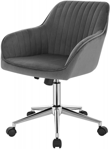 Arbeitshocker Bürostuhl mit Lehne Samt Modell Kerstin,dunkelgrau
