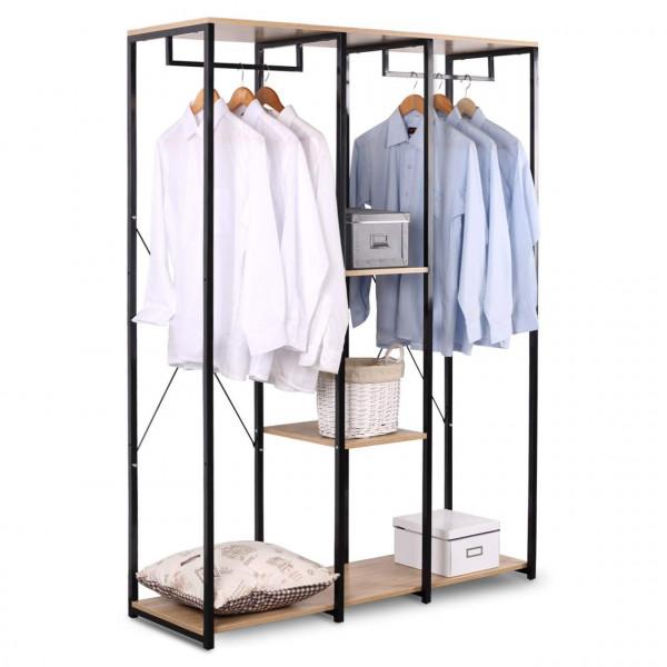Kleiderständer & Schuhregal mit Ablage aus Holz & Stahl in Größe XXXL