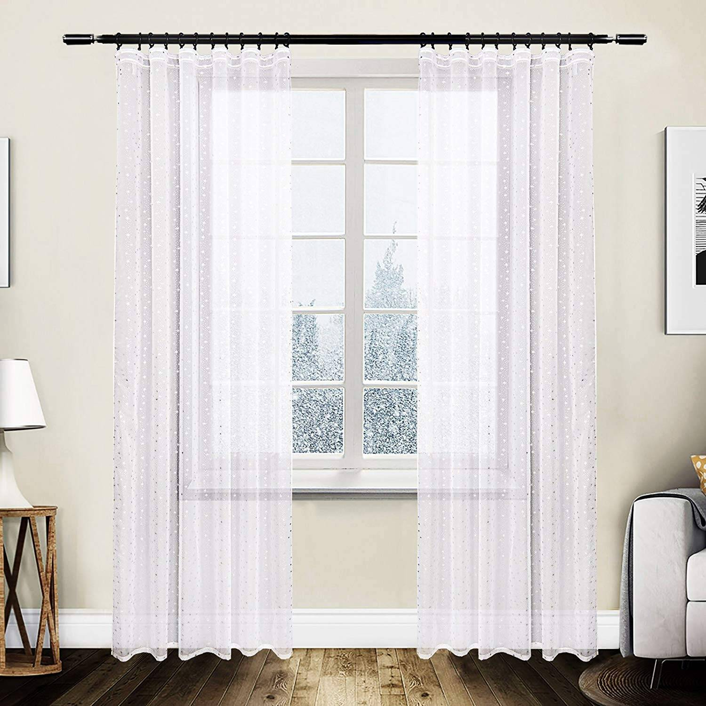Voile Sheer Curtain Panels Pencil Pleat Tape Top Window Curtains 2 Pieces White Woltu Eu