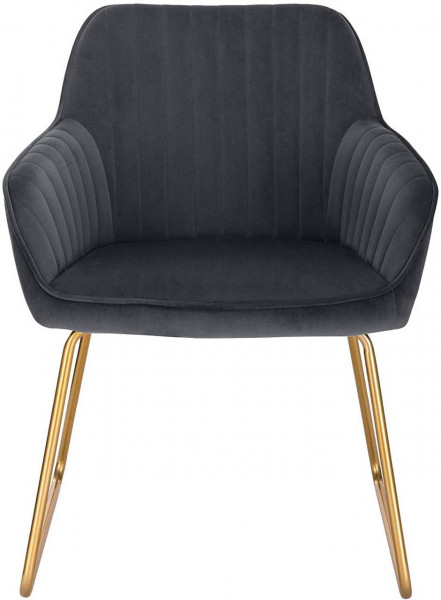 2er-Set Esszimmerstühle aus Samt - Modell Kerstin, Dunkelgrau vorne