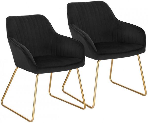 2er-Set Esszimmerstühle aus Samt - Modell Kerstin, Schwarz
