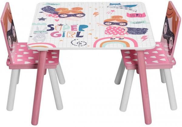 Kindersitzgruppe Tisch-Set aus MDF rosa