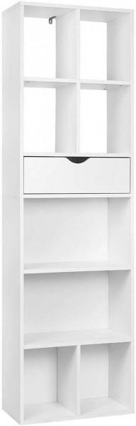 Bücherregal Bücherschrank mit 8 Fächer aus MDF SKuep weiß