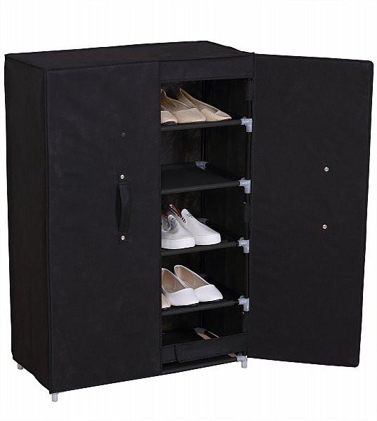 Textil Schuhschrank Faltschrank mit Flügeltür Schwarz