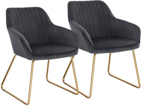 2er-Set Esszimmerstühle aus Samt - Modell Kerstin, Dunkelgrau