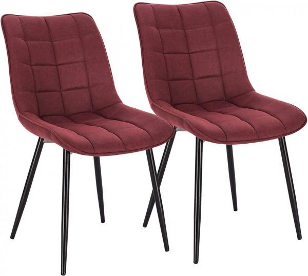 2er-Set Küchenstühle aus Stoffbezug Metallbeine Elif, Bordeaux