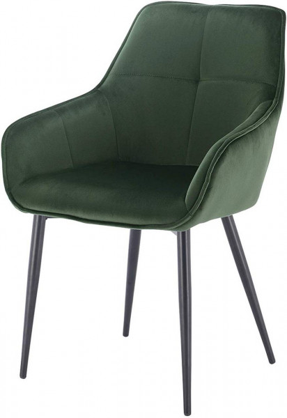 Küchenstuhl aus Samt & Metall Modell Ann, dunkelgrün