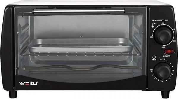 Mini Backofen 12 Liter, 800 Watt Toasterofen mit Timer, schwarz-weiß