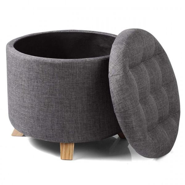Sitzhocker -Fußhocker- mit Stauraum aus Leinen, Massivholz-Beine
