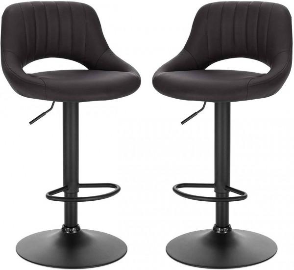 Set of 2 bar stools imitation leather & metal model Philipp