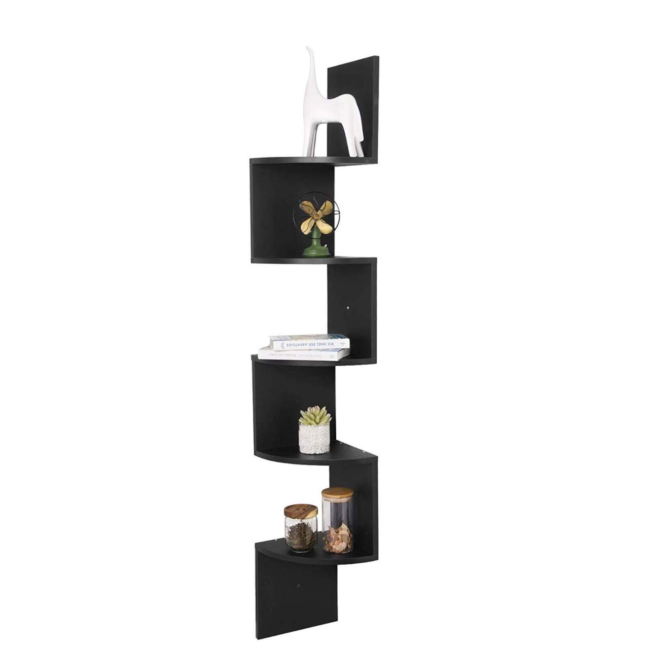 Stylish Wooden Corner Rack Wall Display 5 Shelves Bookcase Bookshelf Wood White