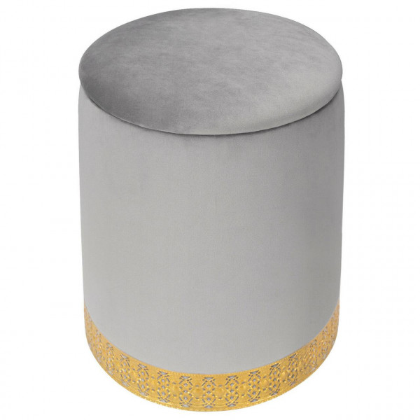 Sitzhocker mit abnehmbarem Deckel aus Samt rund, hellgrau