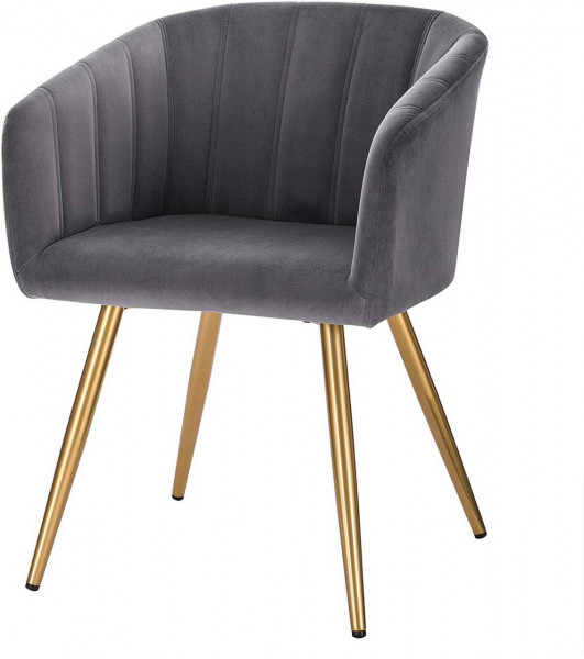 Kitchen chair in velvet, metal frame - Annika model