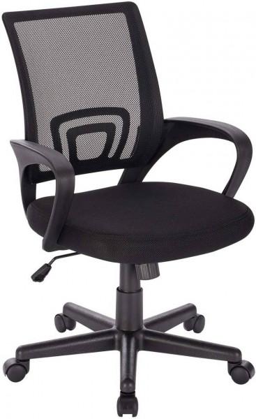Bürostuhl mit Armlehnen aus Mesh, schwarz